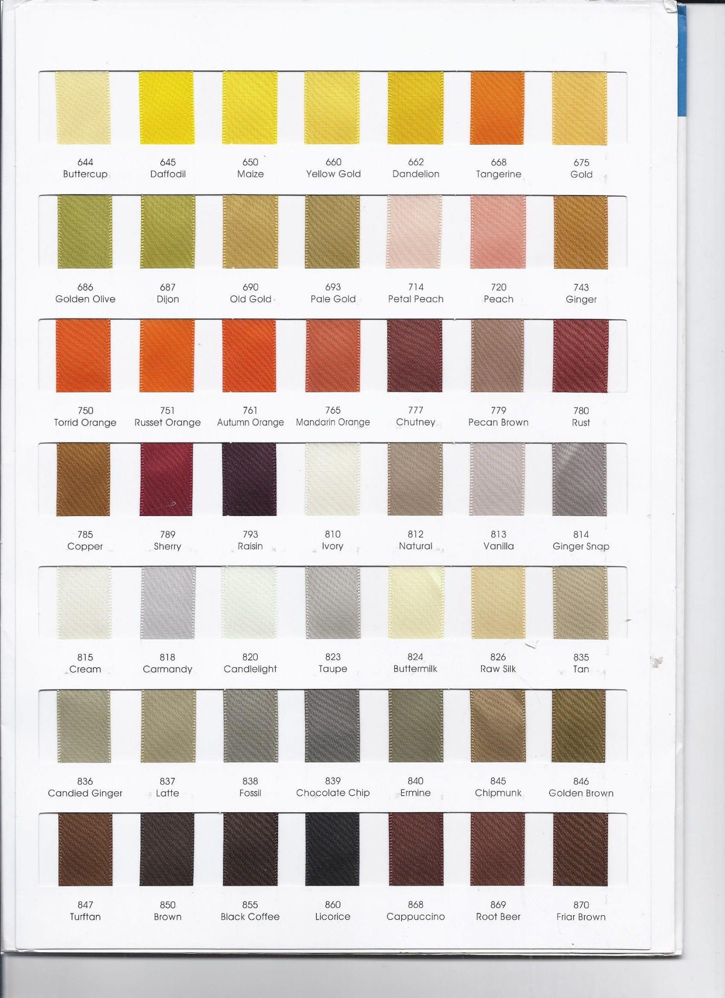 Ribbon colours 644 +