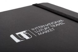 printed logo on leatherette cover