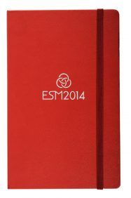 red A5 leatherette notebook with foil logo