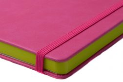 pink pu cover with green paper edging