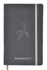 grey book cloth with silver infill & silver elastic